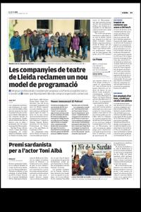 Recull de premsa de la presentació del model d'arts escèniques a la ciutat de Lleida