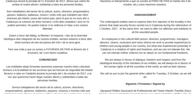 COMUNICAT Les entitats sota signants volem express