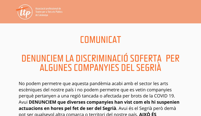Denunciem la discriminació soferta per algunes companyies del Segrià