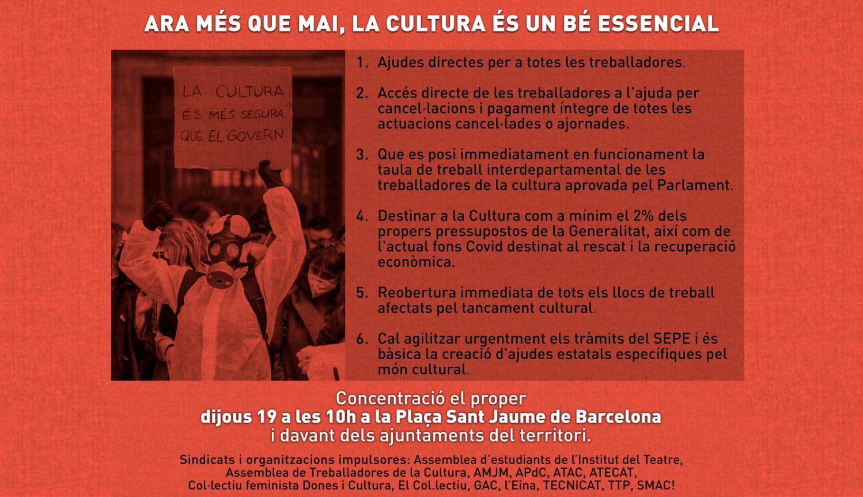 Ara més que mai, la cultura és un bé essencial! Concentració dijous 19 de novembre.