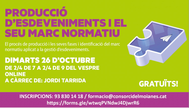 Formació professionalitzadora per al sector cultural: Producció d'esdeveniments i el seu marc normatiu